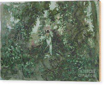 Wood Print featuring the painting Surprised Bather by Elizabeth Carr