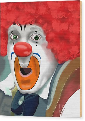 Surprised Clown Wood Print by Methune Hively