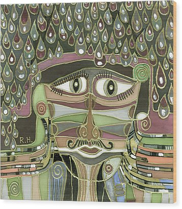 Surprize Drops Surrealistic Green Brown Face With  Liquid Drops Large Eyes Mustache  Wood Print by Rachel Hershkovitz