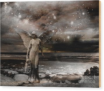 Surreal Fantasy Celestial Angel With Stars Wood Print by Kathy Fornal
