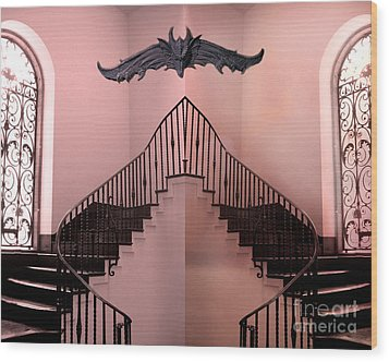 Surreal Fantasy Gothic Gargoyle Over Staircase Wood Print by Kathy Fornal