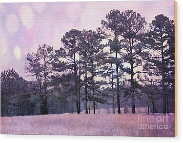Surreal Fantasy Nature Purple Trees Landscape Wood Print by Kathy Fornal