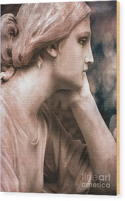 Surreal Female Face Dreamy Contemplation  Wood Print by Kathy Fornal