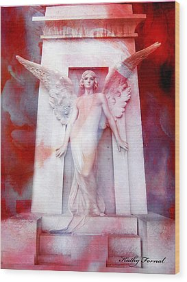 Surreal Impressionistic Red White Angel Art  Wood Print by Kathy Fornal