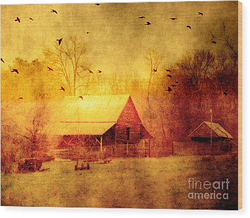 Surreal Red Yellow Barn With Ravens Landscape Wood Print by Kathy Fornal