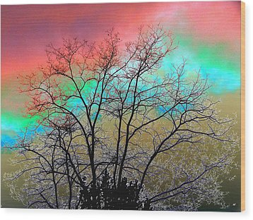 Surreal Winter Sky Wood Print by Will Borden
