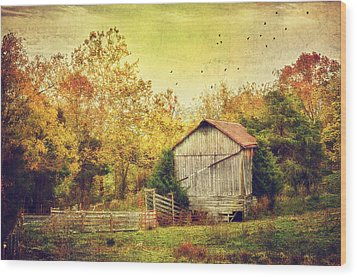 Surrounded By Fall Wood Print by Kathy Jennings