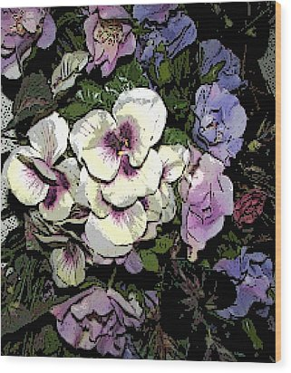 Surrounding Pansies Wood Print