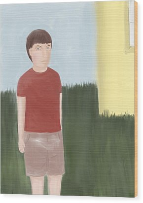 Suspicous Boy In Red Shirt Wood Print by Sarah Countiss