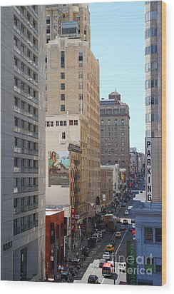 Sutter Street West View Wood Print by Wingsdomain Art and Photography