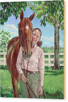 Wood Print featuring the painting Suzanne With Her Horse by Nancy Tilles