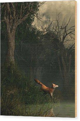 Swamp Fox Wood Print by Daniel Eskridge