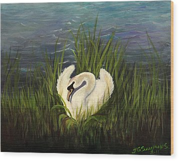Wood Print featuring the painting Swan Nesting by Janet Greer Sammons