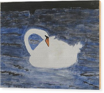 Wood Print featuring the painting Swan  by Sonali Gangane