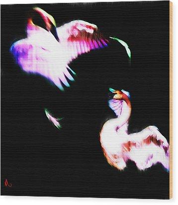 Swans Wood Print by Adam Vance