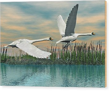Swans In Flight Wood Print by Walter Colvin