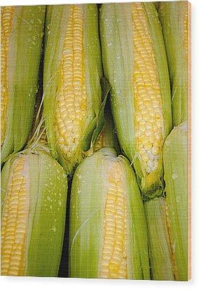 Sweet Corn Wood Print by Jen Morrison