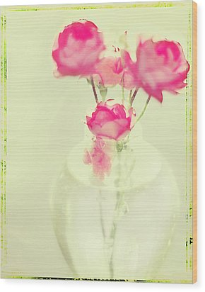 Sweet Fairy Rose Wood Print by Linde Townsend