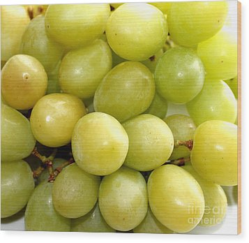 Sweet Green Grapes Wood Print by Barbara Griffin