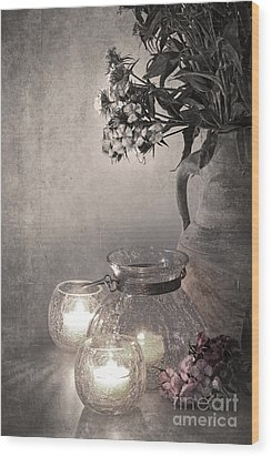 Sweet Williams Sepia Wood Print by Jane Rix