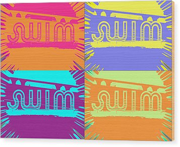 Swim Wood Print by Amber Hennessey