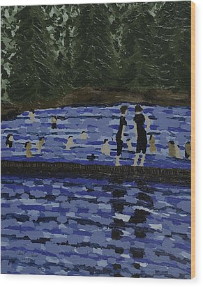 Swimming At The Res Wood Print by Kurt Olson