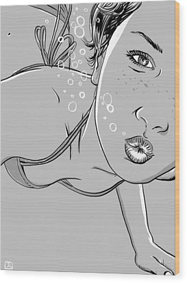 Swimming Girl Wood Print by Giuseppe Cristiano