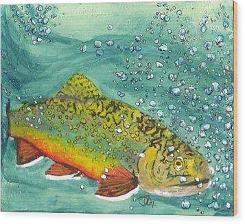 Swimming Upstream Wood Print by Sheryl Brandes