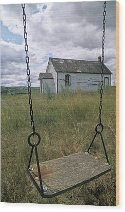 Swing At Old School House, Quappelle Wood Print by Dave Reede