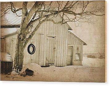 Wood Print featuring the digital art Swingin Barn by Mary Timman