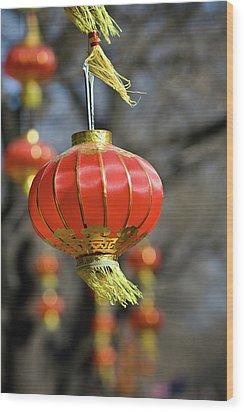 Swinging Chinese Lanterns Wood Print by Jeremy Vickers Photography
