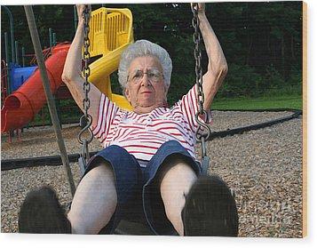 Swinging Grandmother 11 Wood Print