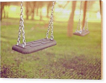 Swings In Park Wood Print by Rob Webb