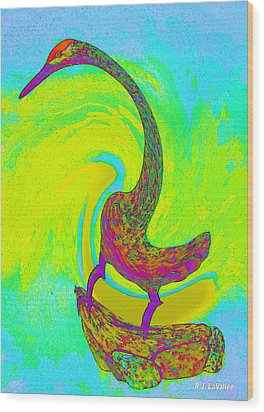 Swirl Crane Wood Print