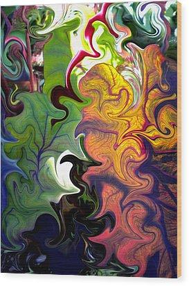 Swirled Leaves Wood Print by Renate Nadi Wesley
