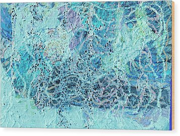 Swirls Of Blue With Dots Wood Print by Anne-Elizabeth Whiteway