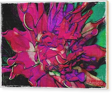 Swirly Fabric Flower Wood Print by Judi Bagwell