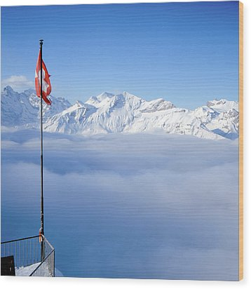 Swiss Alps Panorama Wood Print by Image by Christian Senger