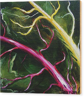 Wood Print featuring the painting Swiss-chard by Karen  Ferrand Carroll