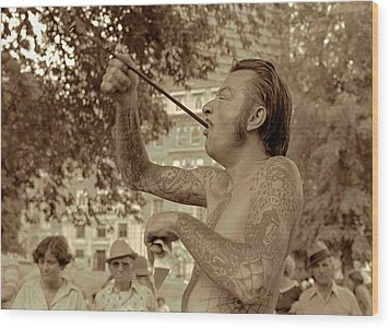 Wood Print featuring the photograph Sword Swallower by Tom Wurl