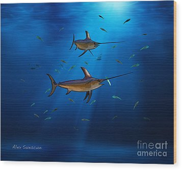 Swordfish Moon Wood Print by Alex Suescun