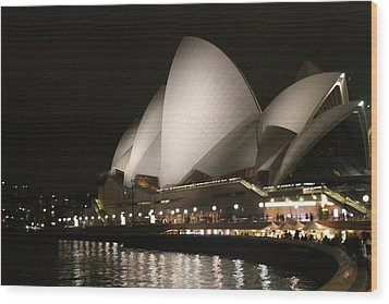 Wood Print featuring the photograph Sydney Opera House At Night by Laurel Talabere