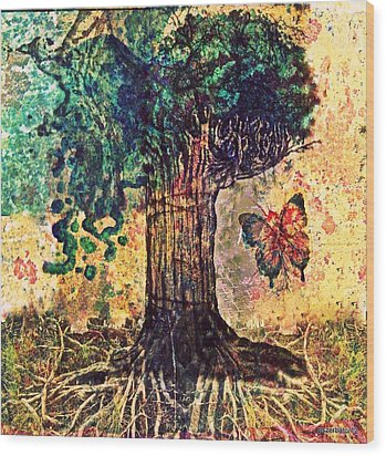 Symbolically Solid Tree Wood Print by Paulo Zerbato