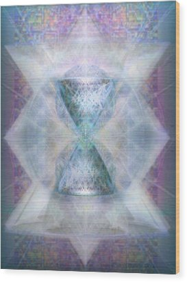 Wood Print featuring the digital art Synthesphered Chalice 'fifouray' On Tapestry by Christopher Pringer