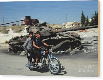 Syrian Men Drive A Motorbike Wood Print by Andrew Chittock