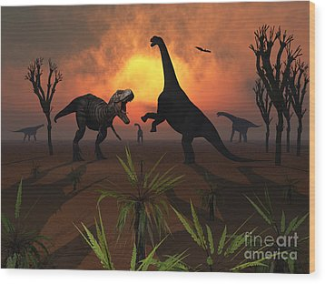T. Rex Confronts A Group Wood Print by Mark Stevenson