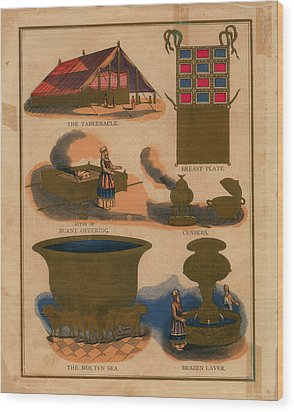 Tabernacle Details Old Testament Brazen Laver Priest Breast Plate Censers Wood Print by Anne Cameron Cutri