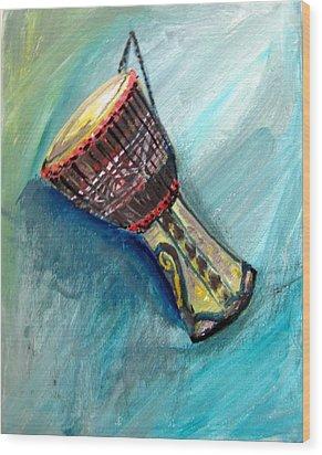 Wood Print featuring the painting Tabla 1 by Amanda Dinan