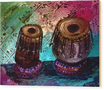 Wood Print featuring the painting Tabla 3 by Amanda Dinan