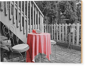 Table And Chairs Wood Print by Frank Nicolato